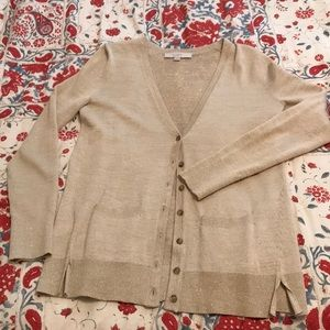 Light cream with shimmer long sleeve cardigan